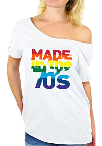 Awkward Styles Women's Made in The 70's Rainbow Off Shoulder Tops T Shirt 70s Birthday Cool Party Idea White (70s Party Clothes Ideas)