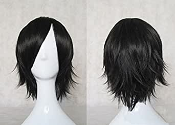 CosplayerWorld Cosplay Wigs Code Geass: Lelouch of the Rebellion Lelouch Lamperouge Wig For Convention Party Show Black 32cm 140g WIG-027A2
