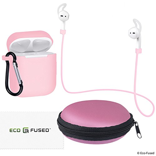- Eco-Fused Accessories Kit Compatible with Apple AirPods - 7in1 - Ear Hooks, Neck Strap, Silicone Sleeve with Carabiner, Protective Storage Case with Zipper and Mesh Pocket, Cleaning Cloth
