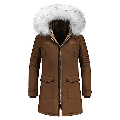 GOVOW 2018 Cotton-Padded Jacket Man Winter Warm Hooded Zipped Thick Solid Fleece Coat(US:4/CN:S,Khaki)