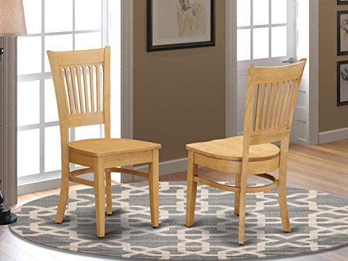 East West Furniture Vancouver dining room chairs – Wooden Seat and Oak Solid wood Structure dining chair set of 2