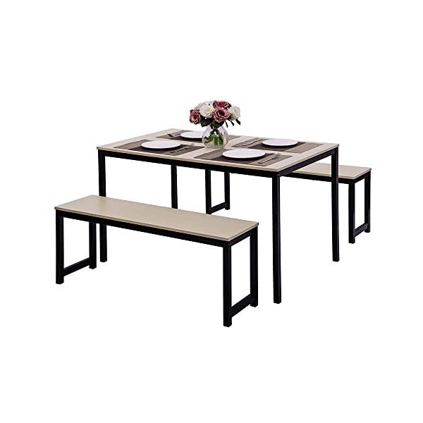 Dining Room Table Set, 3 Pieces Farmhouse Kitchen Table Set with Two Benches, Metal Frame and MDF Board, Modern…