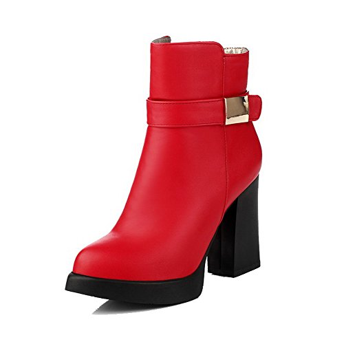 Allhqfashion Women's Pointed Closed Toe Low-top High-Heels Solid PU Boots Red