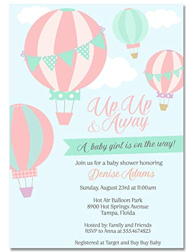 Hot Air Balloon Baby Shower Invitations, Adventure Awaits, Pink, Girls, It's A Girl, Girl, Baby Shower Invites, Balloons, Hot Air Balloons, Up Up Away, 10 Pack Invites with Envelopes]()