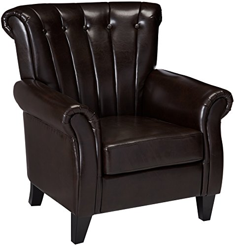 (Best Selling Clifford Channel Tufted Leather Club Chair, Brown)