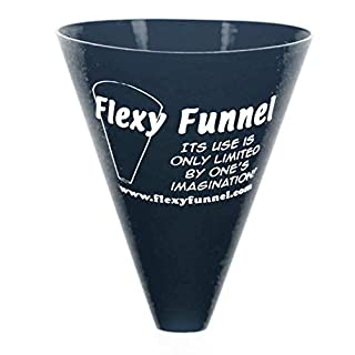 Flexy Funnel Original Silicone Funnel Tool for Transferring of Liquid, Fluid, Dry Ingredients & Powder Great for Kitchen, Automotive, Lab Use, Arts & Crafts, 2 Pack (Black)