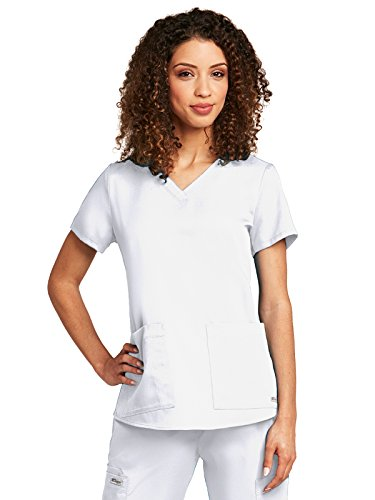 Grey's Anatomy Women's Two Pocket V-Neck Scrub Top with Shirring Back, White, Large