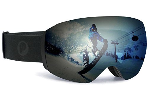 Blue Mirro Lens - Picador Ski Goggles Ultra Wide Frameless with UV400 Protection Anti-Fog Spherical Lens for Men, Women & Youth (Matte Black)