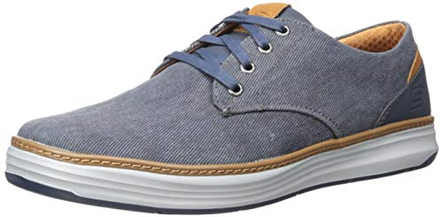 Skechers Men's Moreno Canvas Oxford Shoe, NVY, 13 Medium US (Skechers Oxford Mens Shoes)