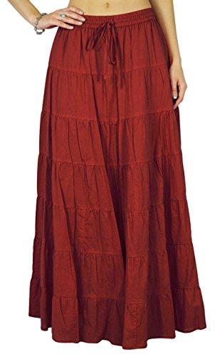Brique avec Phagun taille femmes Rouge de conception cordon Jupe Coton Ethnique serrage Summer de la zrZfw6xqz