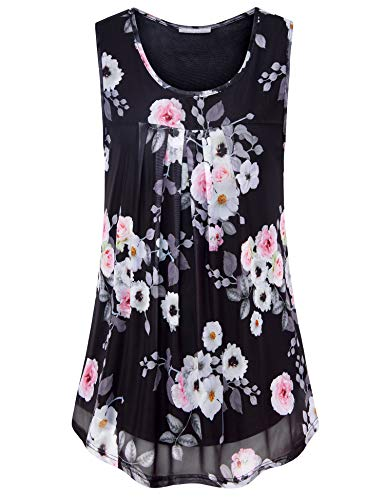 Furnex Womens Swing Tank Tops, Floral Tunic Shirts for Women Pleated Sleeveless Soft Blouse Flowy Shirt Casual Loose Fit Floral Stretchy Dressy Tank Top for Leggings Multicolor Black X-Large