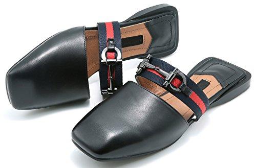 2CM Caboth Calaier Chaussures Sur Femme Mules sabots et Glisser Plat Noir BEwwT4q