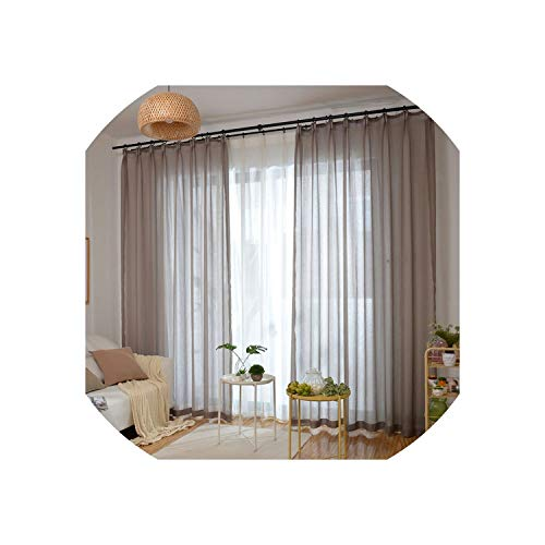 Living Room Curtains Solid Light Color Coffee Sheer Window Curtain for Living Room Balcony Chocolate Tulle Cortinas Salon,Light Chocolate,W250Cm X H240Cm,Grommet Top