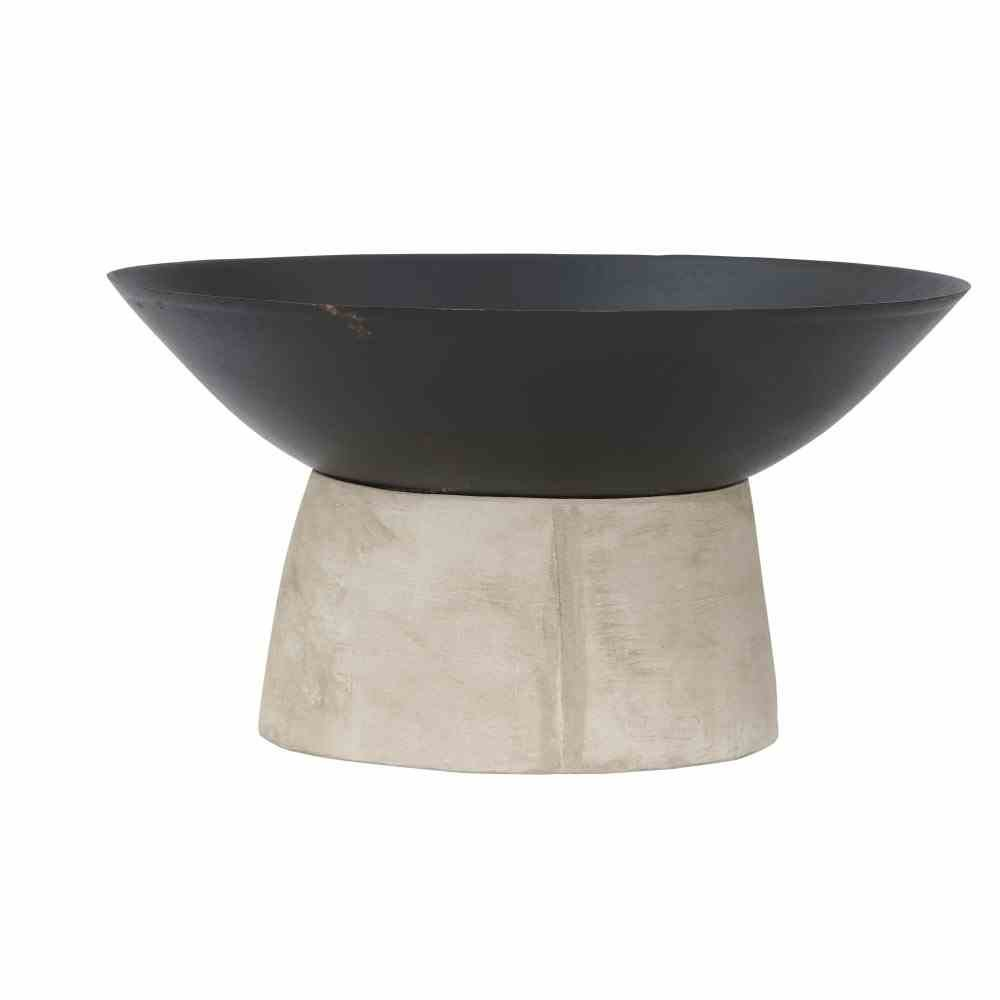 Feuerschale Modern Ø50cm Metall sw, Beton-Fuß Beton-Fuß Siena Garden