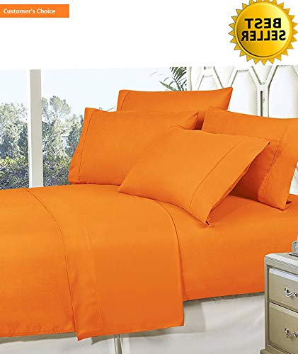 Mikash Best, Softest, Coziest Bed Sheets Ever! 1800 Thread Count Egyptian Quality Wrinkle-Resistant 4-Piece Sheet Set with Deep Pockets 100% Hypoallergenic, Queen Vibrant Orange | Style 84599142
