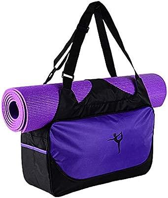 Bolsa para esterilla de yoga, impermeable, para deporte, gimnasio, fitness, bolsa de mano morado