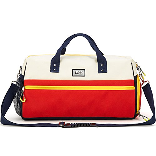 Gym Duffle Bag Sport Travel Bag for Women Men with Shoe Compartment, Wet Pocket Red Off White