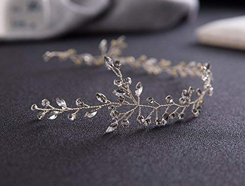 Yevison 1Pc Elegant Fashion Leafs Crystals Bridal Headband for Wedding Headpiece Accessories Durable and Useful