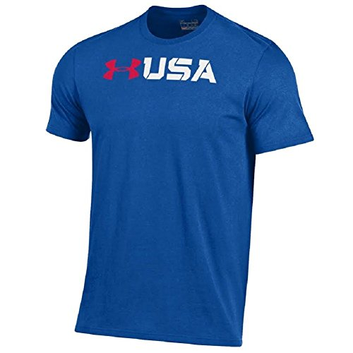 Under Armour Men's-United States Patriotic Charged Cotton T-Shirt Collection-USA with Red UA Logo-Royal-XL