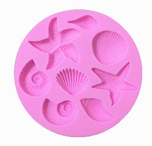 Efivs Arts Ocean Series Silicone Mold Fondant Mold Cupcake Starfish Shell Cake Decoration Tool 3 1/4 Inch Decoration Molds