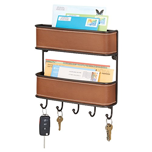 mDesign 2-Tier Mail, Letter Holder, Key Rack Organizer for Entryway, Ktichen - Wall Mount, Brown/Bronze - Leather Mail Organizer