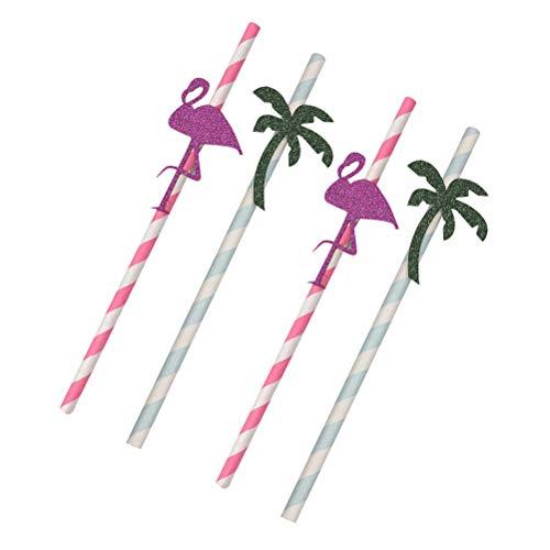12pcs Hawaiian Party Straws Drinking Decorative Straw for Luau Party Table -