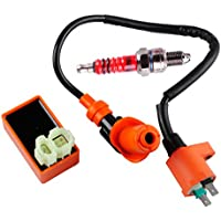 Podoy GY6 CDI Ignition Coil Racing Spark Plug for 50cc...