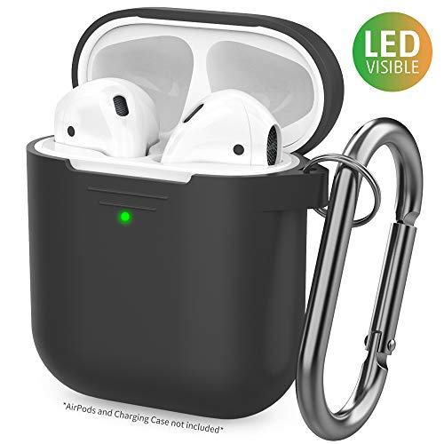 AhaStyle Upgrade AirPods Case Protective Cover [Front LED Visible] Silicone Compatible with Apple AirPods 2 & 1(Black) ()