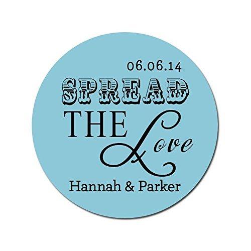 (Spread the Love Wedding Stickers - Jam, Honey, Mason Jar Favors - Personalized and Custom)