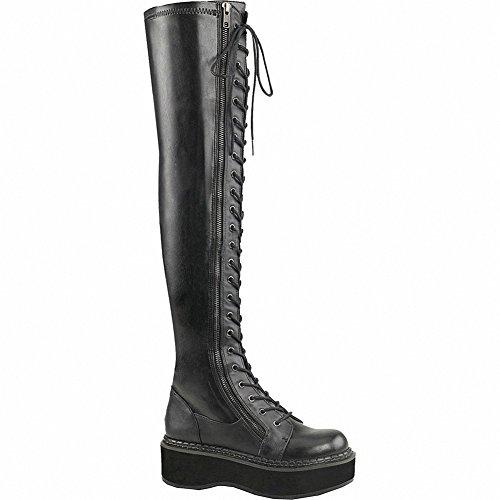 Demonia Emily-375 Kvinnor 2 Pf Str Lår-hög Spets-up Boot W / Yttre Metall Dragkedja Blk Str Veganläder