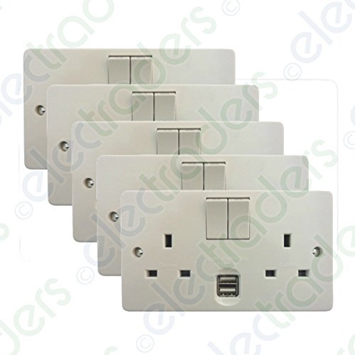 Pack of 5 x Crabtree 4306/USB/D 'Capital' Twin Switch Sockets13 Amp with USB Outlets 2.1A
