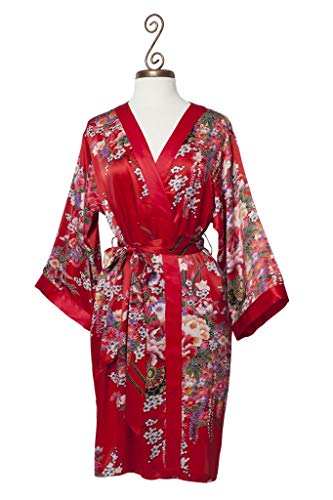 Dynasty Robes 100% Silk, Women's Short Printed Red Robe with Kimono Collar-Imperial -