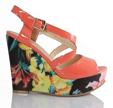 Lastrada Orange Wedge Sandal For Women