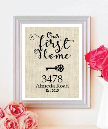 Wonderful Rustic Gifts Burlap for House Warming - Natural Burlap Gift For The New Home Housewarming Gift - Our First Home Burlap Print - Personalized Address Sign - New House Gift