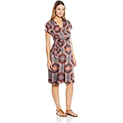 Everly Grey Women's Maternity Kathy Nursing Flutter Sleeve Wrap Dress, Capri, M