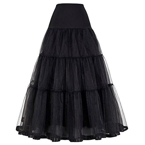Women Skirt for Wedding Fashion Vintage Long Skirts Crinoline Underskirt 1 Black - Vinyl Ball Gown