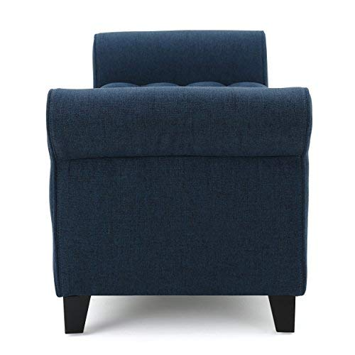 Christopher Knight Home 299821 Living Charlemagne Dark Blue Tufted Fabric Armed Storage Bench 19.50D x 50.00W x 19.25H