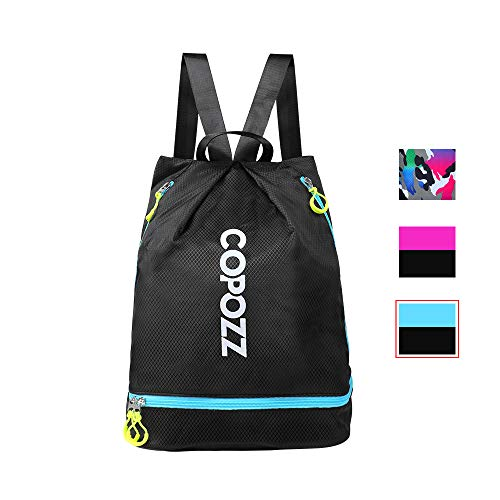 COPOZZ Waterproof Gym Swimming Drawstring Backpack, Lightweight Dry Wet Separated Swim Bag Gym for Cycling, Hiking & More Outdoor Activities ()