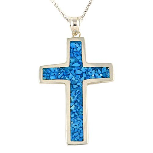 - Women's Men's Sterling Silver Blue Turquoise 1.19 inches Cross Pendant 16+2 inches Chain