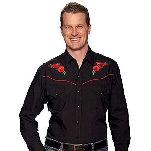 ELY CATTLEMAN Men's Embroidered Rose Design Western Shirt Black Small