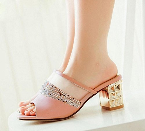 Sommer Sandalen Schuhe Fischkopf Diamantschuhe Frau Pantoffeln Netz Pink
