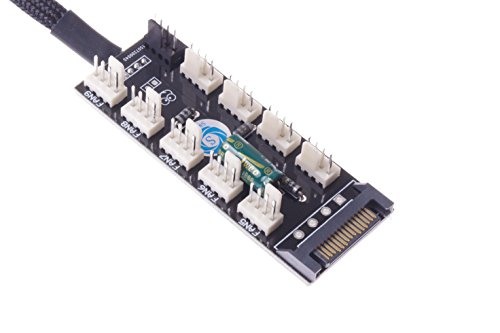 SMAKNÂ PC FAN HUB temperature-controlled supports 10 Ports 12V 3pin/4pin Fan Cable SATA-port Power by SMAKN (Image #2)'