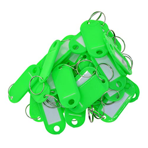 Alphabet Eyelet Tag - NATFUR 50x Key Ring Tags Plastic Name Label ID Keys Tag Luggage Fob Rings Green Elegant Pretty Novelty Key-Chain Cute Holder Perfect Pretty Novelty Great Fine