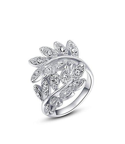 Celebrity Jewelry White Gold Swarovski Elements Crystal Leaf Shape Fashion Ring for Women Size 6