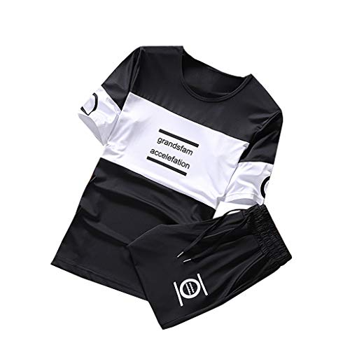 Short Sets Mens 2 Piece Outfits,Color Collision Short Sleeve T Shirt Casual Soccer Track Training Pants Sportswear Black ()