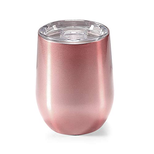 er with Lid, Elekin 12oz Stainless Steel Stemless Wine Glasses Travel Cup for Wine, Coffee, Cocktail, Champagne(Rose Gold) ()