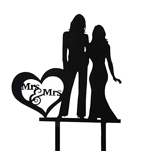 (Mrs and Mrs Cake Topper - Silhouette Couple Bride and Bride Wedding Party Decorations - Hers & Hers Same Sex Marriage Union)