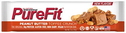 PureFit Peanut Butter Toffee Premium Nutrition Bars, 15 Count | 18G Protein, Performance Enhancement & Energy Bar - Gluten Free, Dairy Free, Low Carb, - Toffee Skor