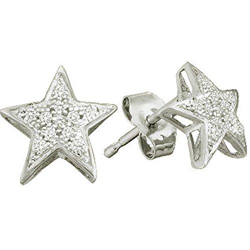 0.06 Carat (ctw) 10K White Gold Round Cut White Diamond Ladies Star Shape Fashion Stud Earrings (Diamond White Earrings Gold Star)