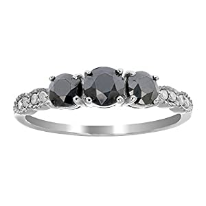 1 CT 3 Stone Black Diamond Ring With Milgrain Sterling Silver In Size 9